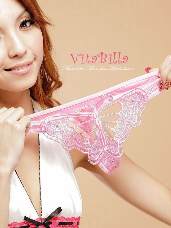 エロ下着の通販商品:蝶柄Tバック1502ピンク・イメージ写真2