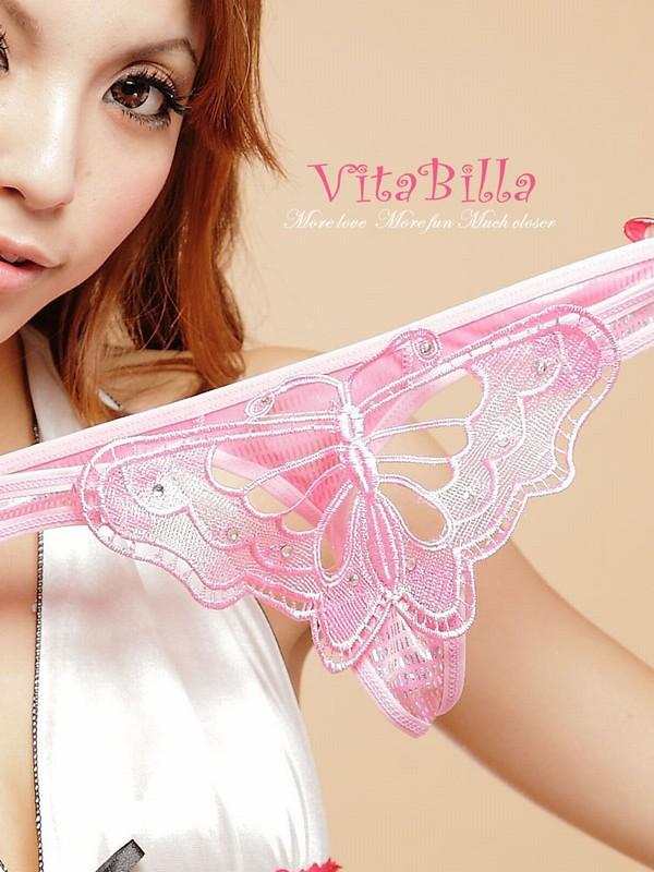 エロ下着の通販商品:蝶柄Tバック1502ピンク・イメージ写真3