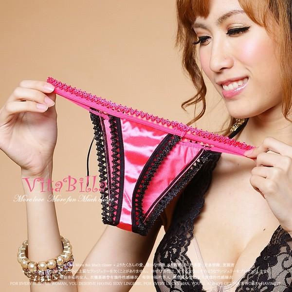 エロ下着の通販商品:ピンク色・サテン素材・Tバック1506・イメージ写真