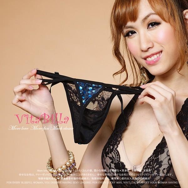 エロ下着の通販商品:スパンコール付きの黒レースTバック1508・イメージ写真5