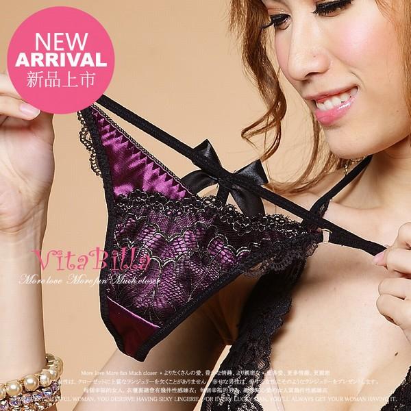 エロ下着の通販商品:紫のサテン生地&黒レース・Tバック1512・イメージ写真1
