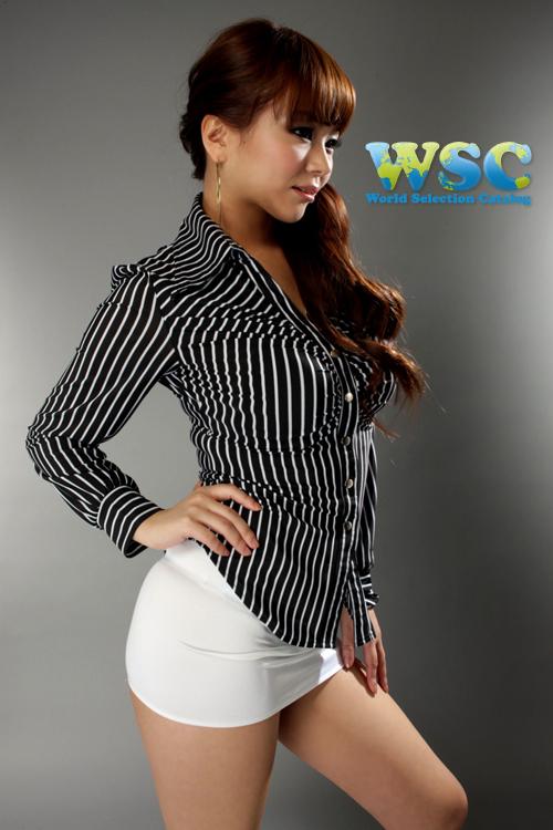 エロ下着の通販商品:丈25cmのタイトスカート・白E2511・着用写真2