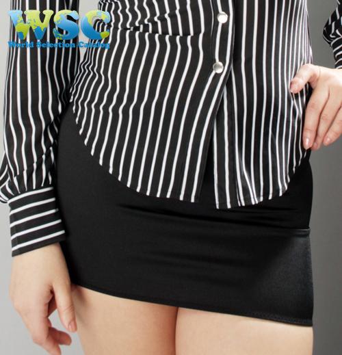 エロ下着の通販商品:丈25cmのタイトスカート・黒E2511・着用写真1