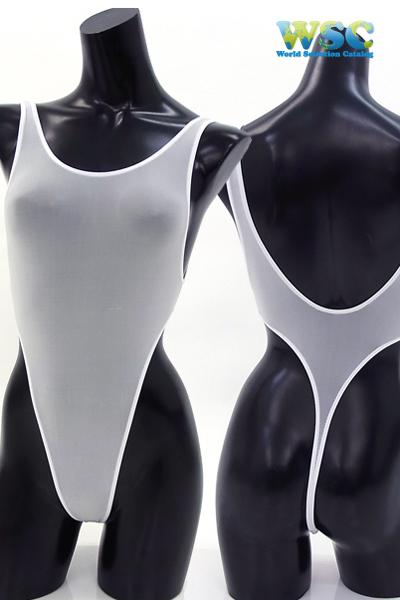 エロ下着の通販商品:ストッキング生地のハイレグ・レオタード・3940白・イメージ写真6
