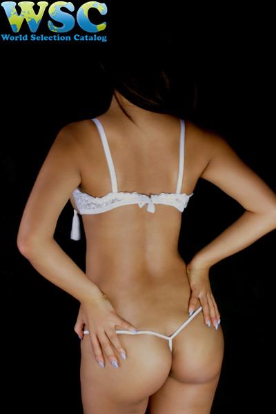 エロ下着の通販商品:ワイヤー付きノーカップブラ・Tバックset・E2327・白・イメージ写真7
