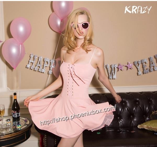 ボディコン通販の商品:フロント紐締め・ミニドレス・ピンクE6005・イメージ写真1