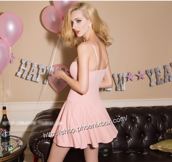 ボディコン通販の商品:フロント紐締め・ミニドレス・ピンクE6005・イメージ写真2