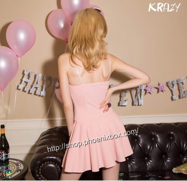 ボディコン通販の商品:フロント紐締め・ミニドレス・ピンクE6005・イメージ写真3