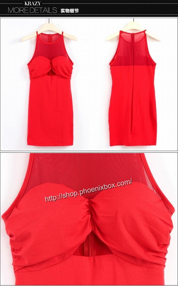 ボディコン通販の商品:ノースリーブ・タイトワンピ・赤E6096・イメージ写真5