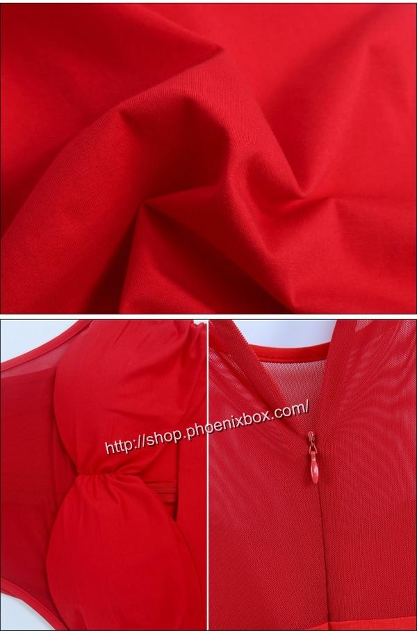 ボディコン通販の商品:ノースリーブ・タイトワンピ・赤E6096・イメージ写真6