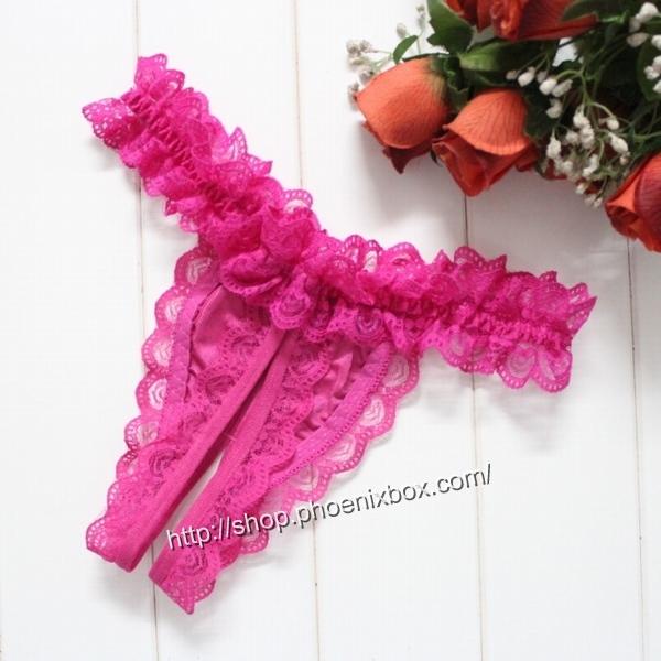 エロ下着の通販商品:贅沢総レースTバック・E6039・ローズ・イメージ写真1