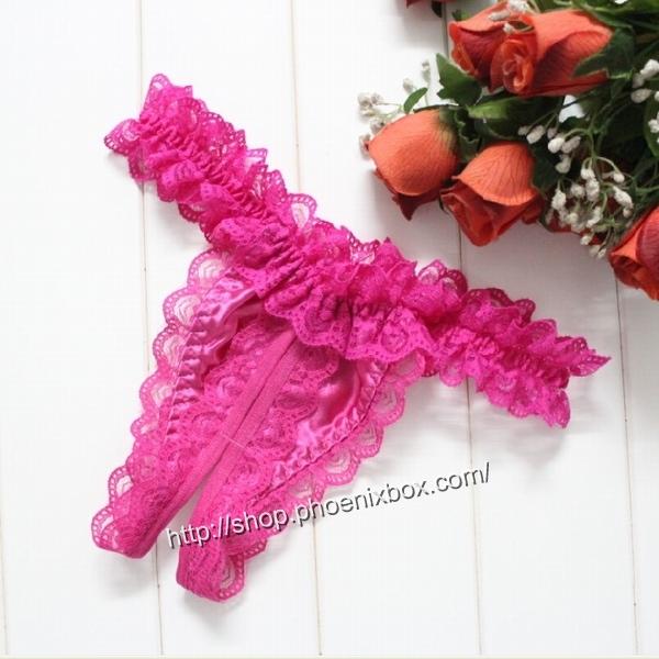 エロ下着の通販商品:贅沢総レースTバック・E6039・ローズ・イメージ写真2