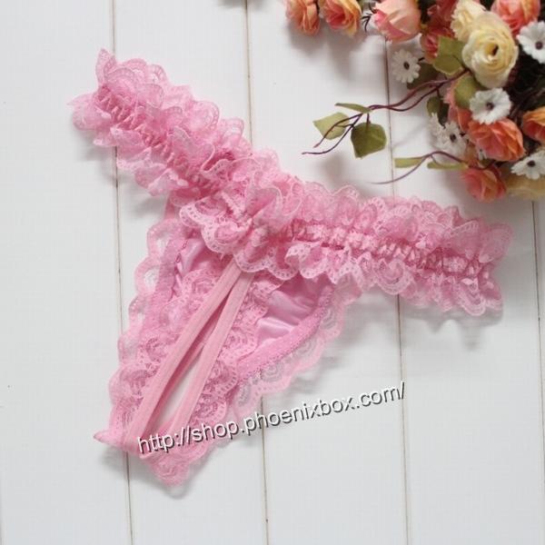 エロ下着の通販商品:贅沢総レースTバック・E6039・ピンク・イメージ写真4