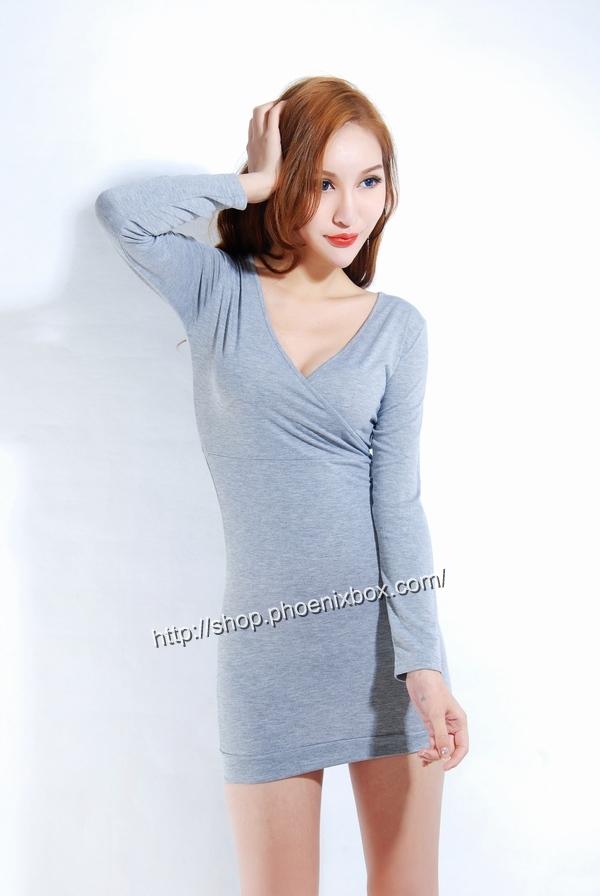 ボディコン通販の商品:長袖タイトワンピ・MA007・グレー・イメージ写真2
