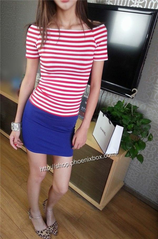 ボディコン通販の商品:タイトスカート・ブルーE1113・素人着用写真3