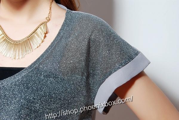 ボディコン通販の商品:ラメ入り半袖チュニック・グレー13014・素人着用写真5