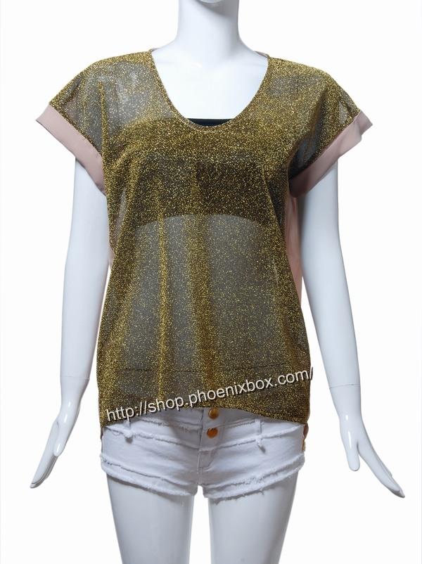 ボディコン通販の商品:ラメ入り半袖チュニック・ゴールド13014・素人着用写真6