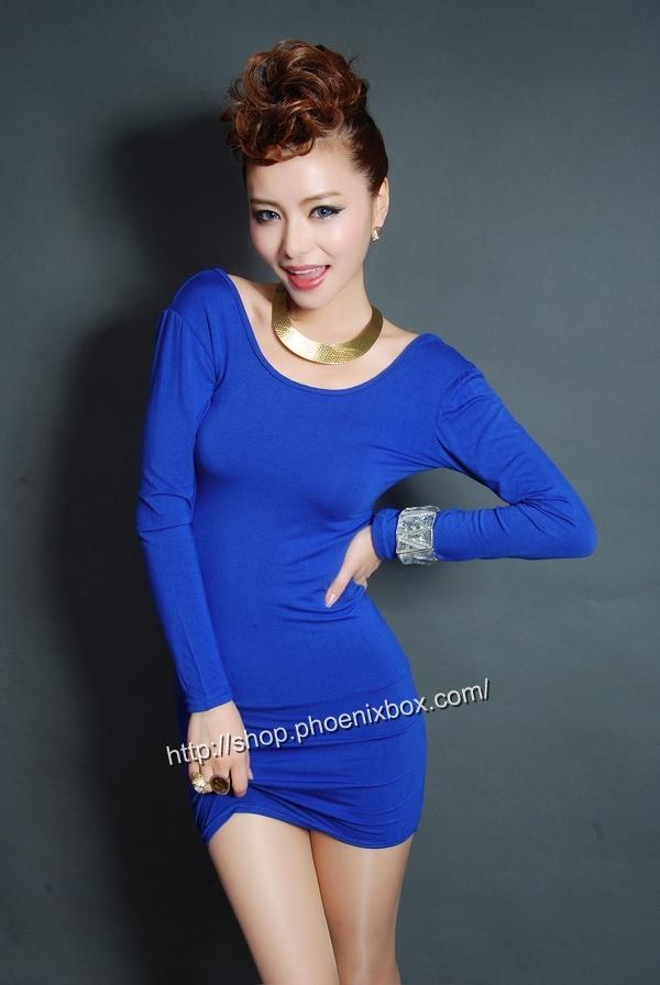 ボディコンワンピ通販商品:タイトボディコンワンピ・20301・青・イメージ写真2