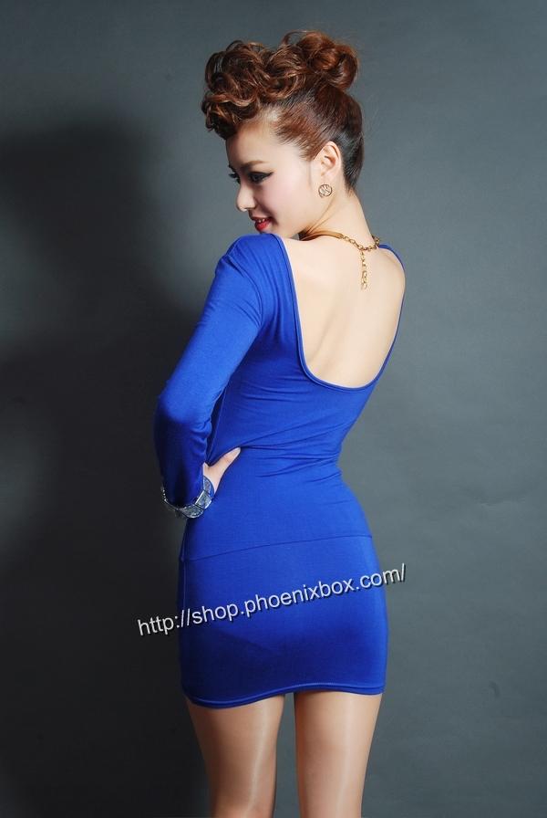 ボディコンワンピ通販商品:タイトボディコンワンピ・20301・青・イメージ写真4