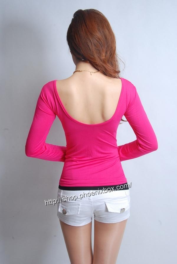 ボディコン通販の商品:セクシー長袖Tシャツ・ローズ色E3016・素人着用写真4