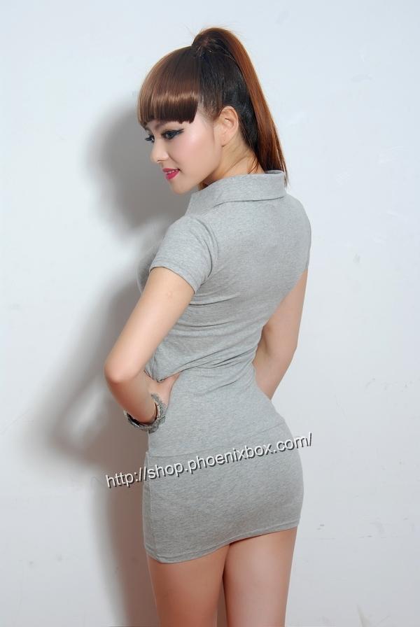 ボディコン通販の商品:半袖のミニタイトワンピ・ライトグレー40042・イメージ写真3