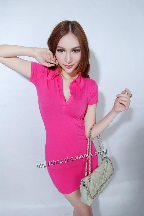 ボディコン通販の商品:半袖のミニタイトワンピ・ローズ40042・イメージ写真1
