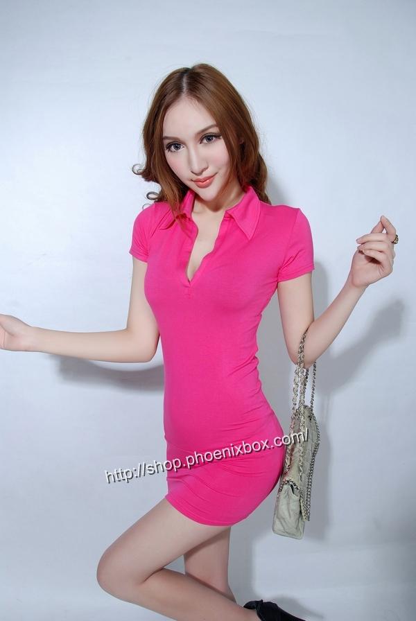 ボディコン通販の商品:半袖のミニタイトワンピ・ローズ40042・イメージ写真3