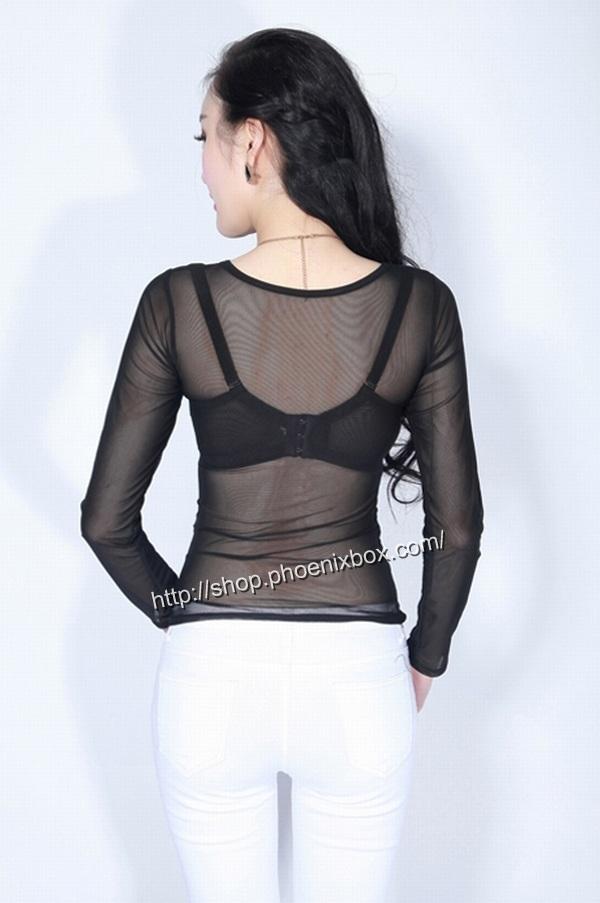 ボディコン通販の商品:メッシュ素材の長袖円襟Tシャツ・C197・素人着用写真2