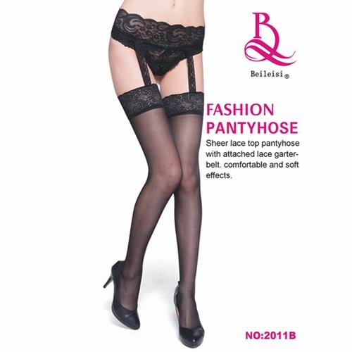 エロ下着の通販商品:メッシュtypeガーターストッキング・黒tpE2011B・パケッジ写真