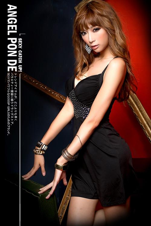 ボディコン通販の商品:デコルテ魅せミニドレス・黒E499・イメージ写真2