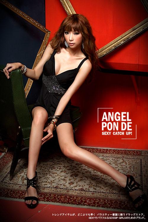 ボディコン通販の商品:デコルテ魅せミニドレス・黒E499・イメージ写真3