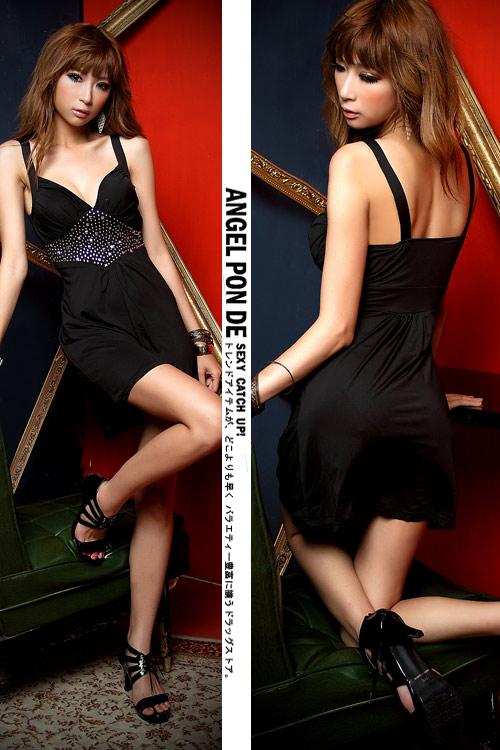 ボディコン通販の商品:デコルテ魅せミニドレス・黒E499・イメージ写真4