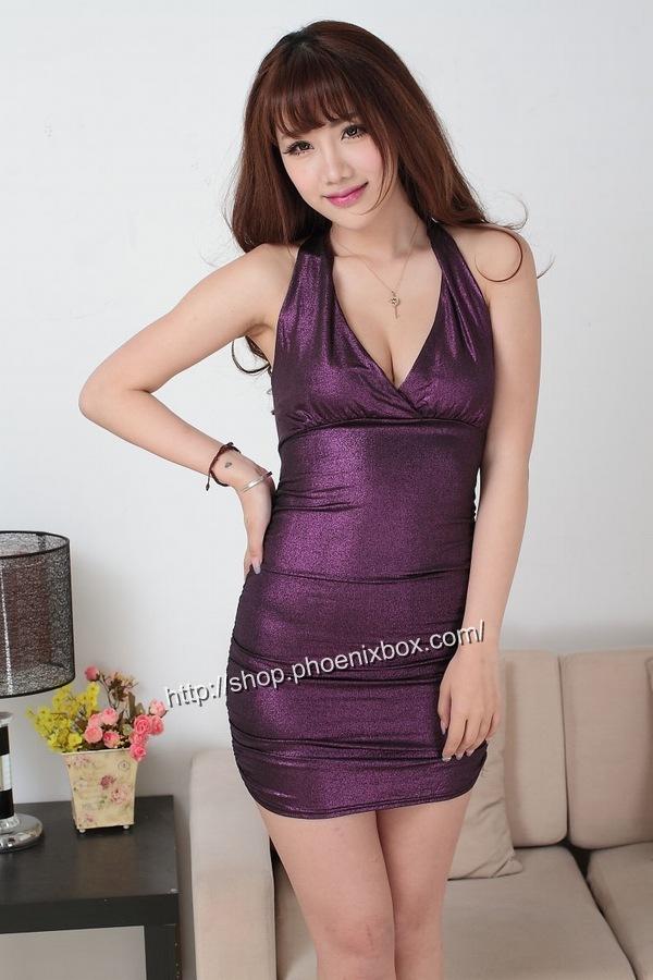 ボディコン通販商品:ラメ入り光沢ボディコン・紫・イメージ写真4