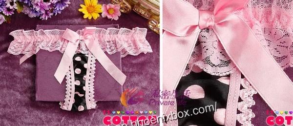 エロ下着の通販商品:水玉柄Tバック・ピンク色レース×黒サテン・イメージ写真1