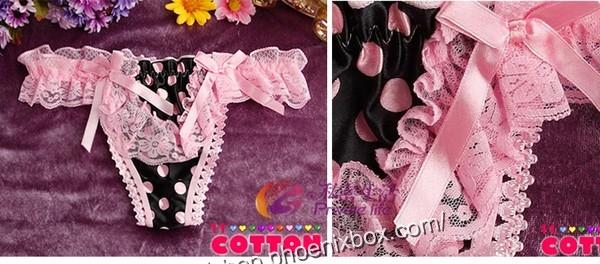 エロ下着の通販商品:水玉柄Tバック・ピンク色レース×黒サテン・イメージ写真4