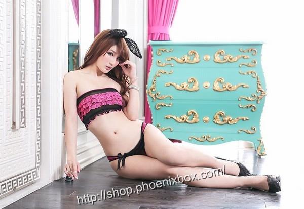 エロ下着の通販商品:サテン生地TバックST8014・パープル・イメージ写真3