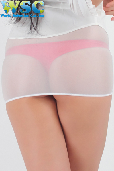 エロ下着の通販商品:透け透明ミニスカート・白52339・イメージ写真5