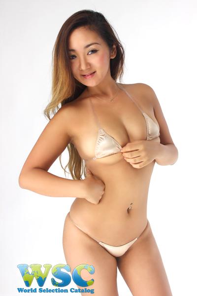 エロ下着の通販商品:光沢マイクロTバックビキニ52541・ベージュ・イメージ写真1