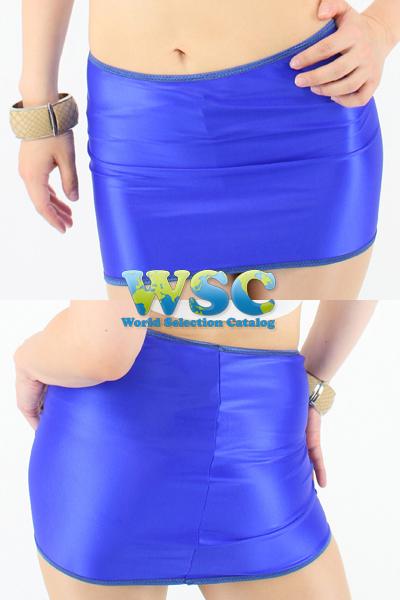 エロ下着の通販商品:25cm丈光沢スカート・ブルー528001・イメージ写真5