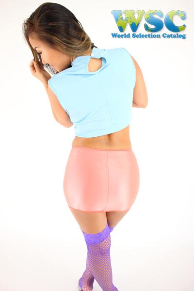 エロ下着の通販商品:25cm丈光沢スカート・ピンク528001・イメージ写真2