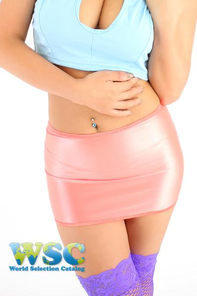 エロ下着の通販商品:25cm丈光沢スカート・ピンク528001・イメージ写真3
