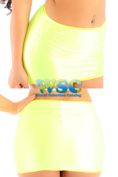 エロ下着の通販商品:25cm丈光沢スカート・ライム528001・イメージ写真3