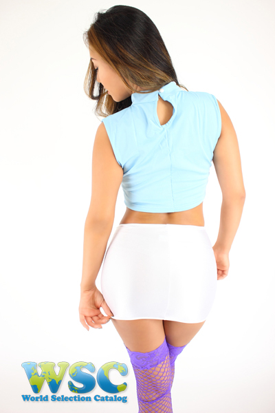 エロ下着の通販商品:25cm丈光沢スカート・白528001・イメージ写真3