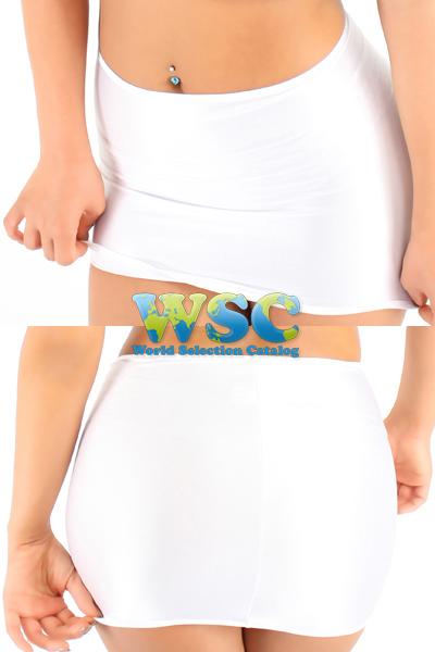 エロ下着の通販商品:25cm丈光沢スカート・白528001・イメージ写真5