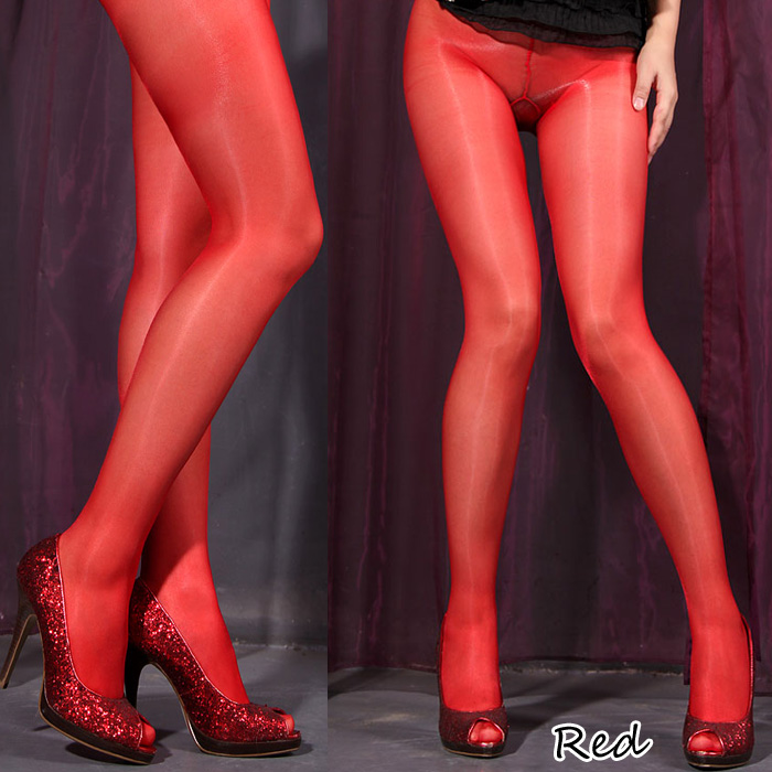 エロ下着の通販商品:オールスルー光沢パンスト・赤DY0148・イメージ写真1