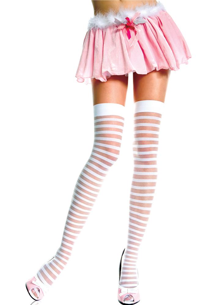 エロ下着の通販商品:白ボーダー柄のガーターストッキング・イメージ写真1