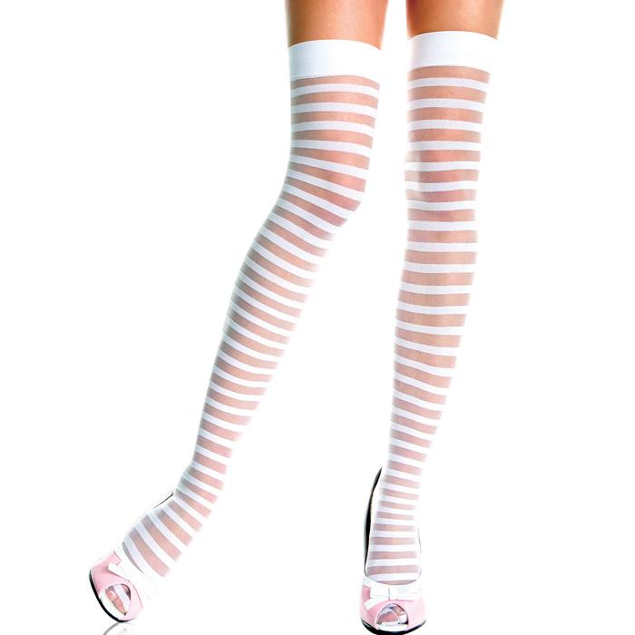 エロ下着の通販商品:白ボーダー柄のガーターストッキング・イメージ写真2
