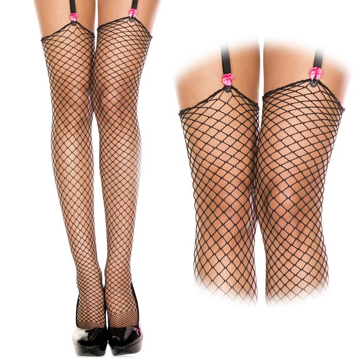 エロ下着の通販商品:網ガーターストッキング・黒・イメージ写真