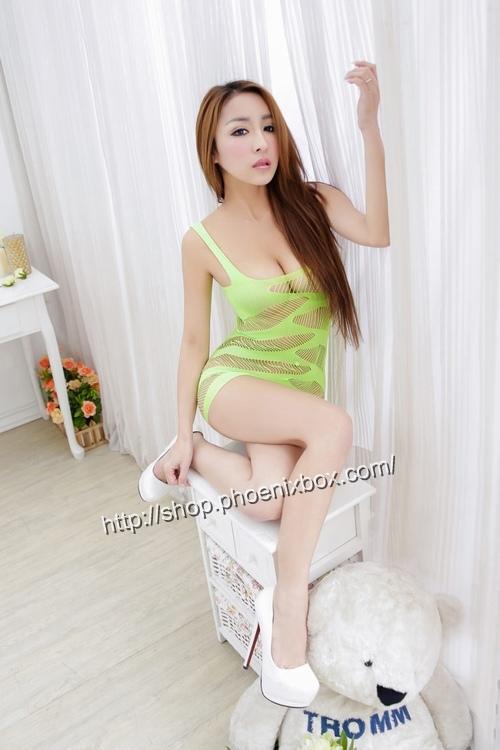 エロ下着の通販商品:ボディコン風ボディストッキング・グリーン・イメージ写真1