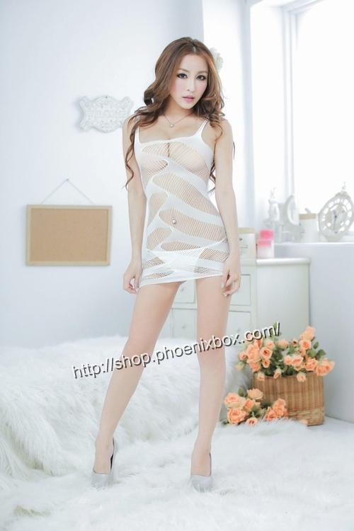 エロ下着の通販商品:ボディコン風ボディストッキング・白・イメージ写真1